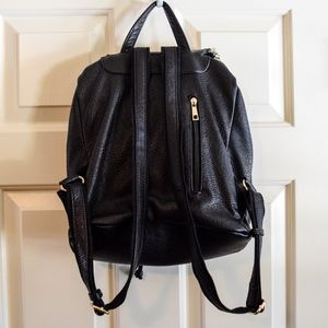 Bags - Black Pebbled Faux Leather Backpack